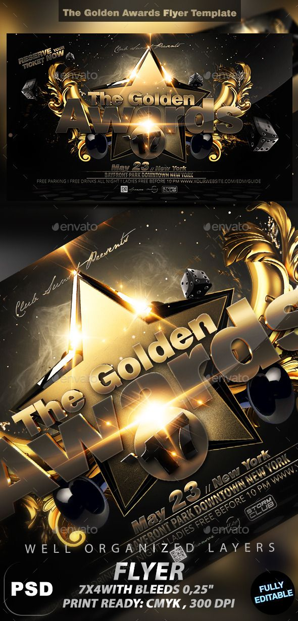 The Golden Awards Flyer Template  Flyer Template Template And
