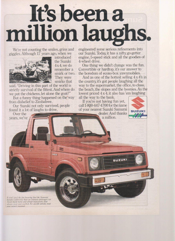1987 SUZUKI SAMURAI advertisement, Suzuki 4x4 with 1970 Samurai model  Vintage magazine ads carry historical and nostalgic significance for  collectors.