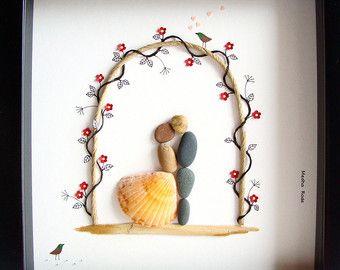 Wedding Gift Pebble Art Unique Engagement Personalized Present