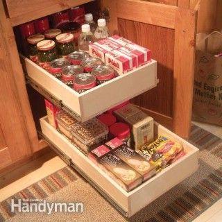 Organize Kitchen Storage With Kitchen Cabinet Rollouts - 60+ Innovative Kitchen Organization and Storage DIY Projects
