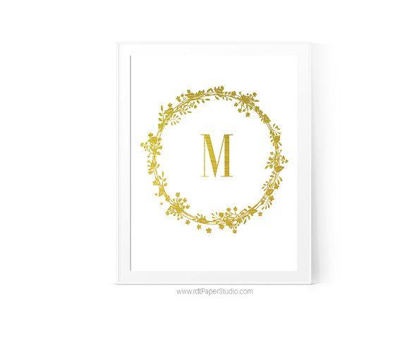 Letter M Gold Monogram Cadre Monogram Print by rdtPaperStudio