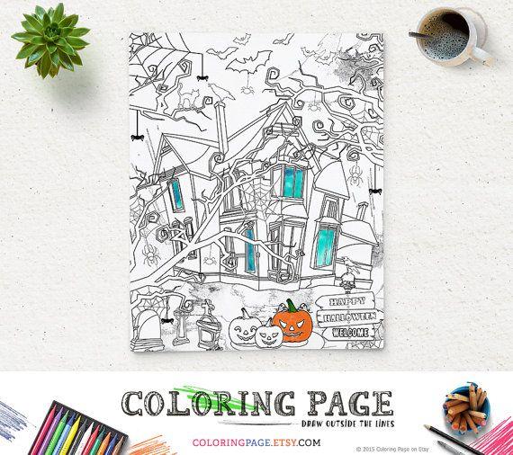 #Halloween Party #ColoringPage Printable Instant Download #DigitalArt #Zen #adultcoloring