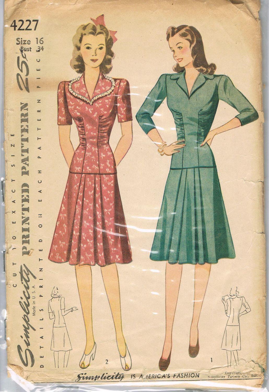 Sew Something Vintage 1940s Fashion: 1940s Dress Pattern Simplicity 4227 Vintage Bombshell SALE