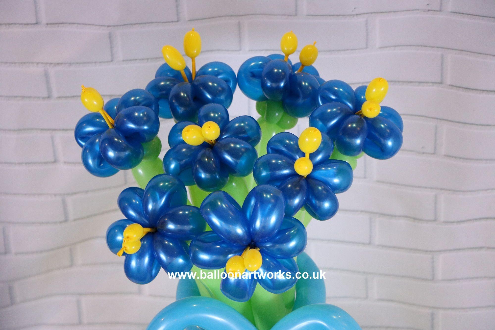 Electric Blue Balloon Flower Bouquet Balloon Flowers Pinterest