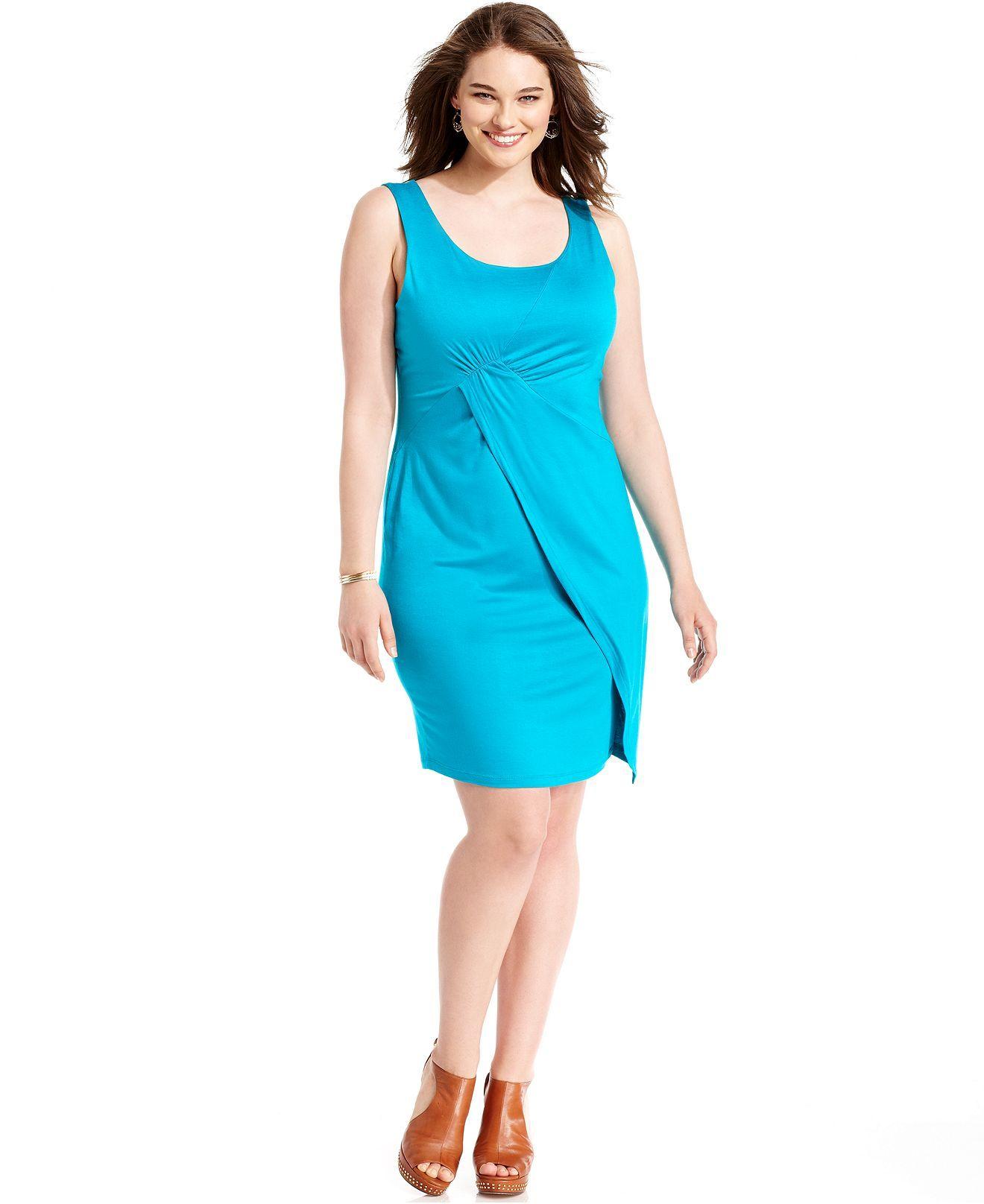 Soprano Plus Size Dress, Sleevless Faux-Wrap Sheath - Plus Size ...
