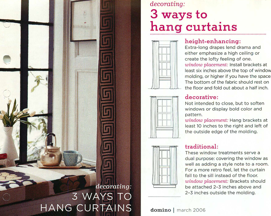3 ways to hang curtains: traditional, height-enhancing or