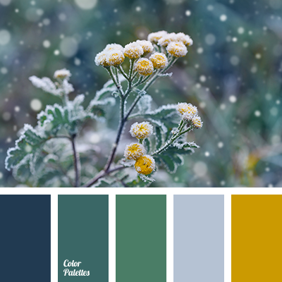 Blue Color Matching Deep Emerald Green Dirty Gray Yellow House Scheme Pastel Saffron