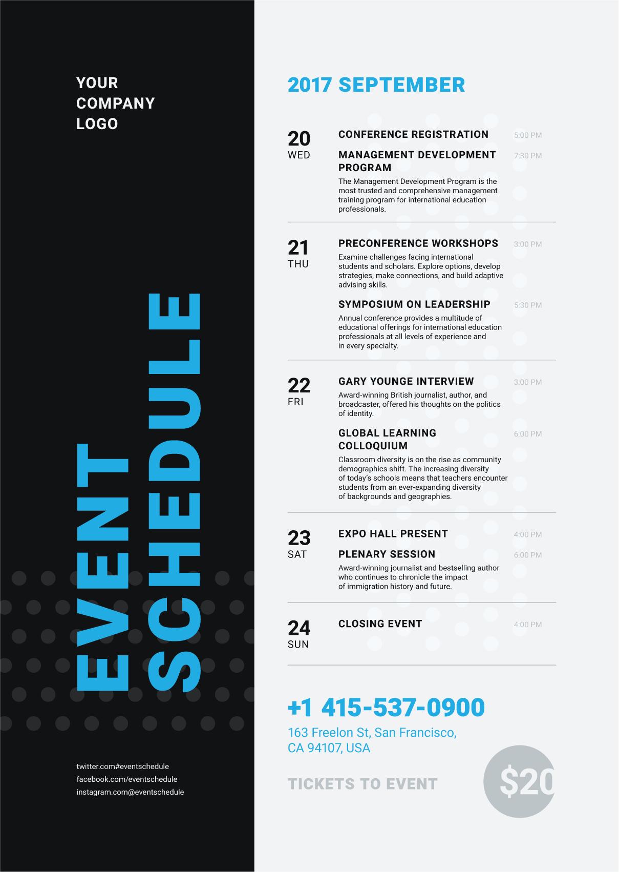 7 schedule event poster template event poster. Black Bedroom Furniture Sets. Home Design Ideas