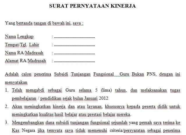 Dokumen Contoh Format Surat Pernyataan Kinerja Guru
