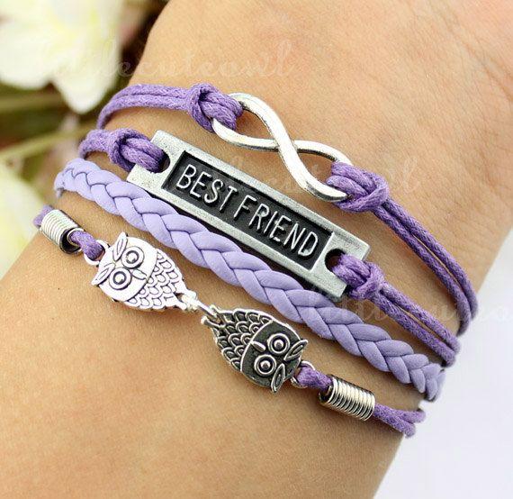 Infinity bracelet best friend bracelet owl by littlecuteowl, $4.99