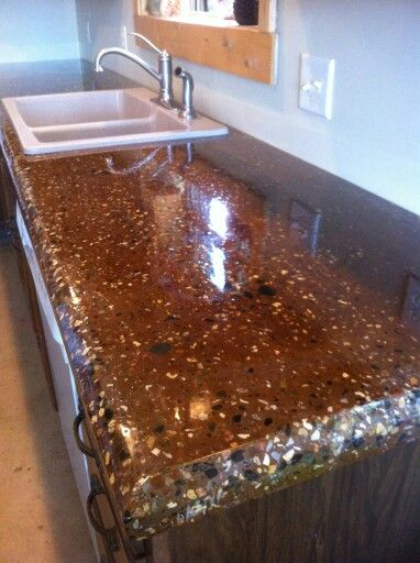 Counter With Color Concrete And Stain Exposed Aggregate