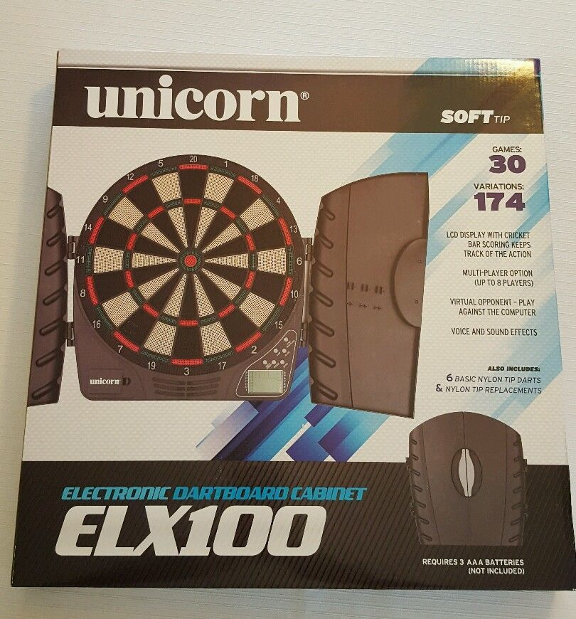 Unicorn Electronic Dartboard Cabinet ELX100 (30 Games) LED Display Sound Effects in Sporting Goods Indoor Games Darts | eBay & Unicorn Electronic Dartboard Cabinet ELX100 (30 Games) LED Display ...