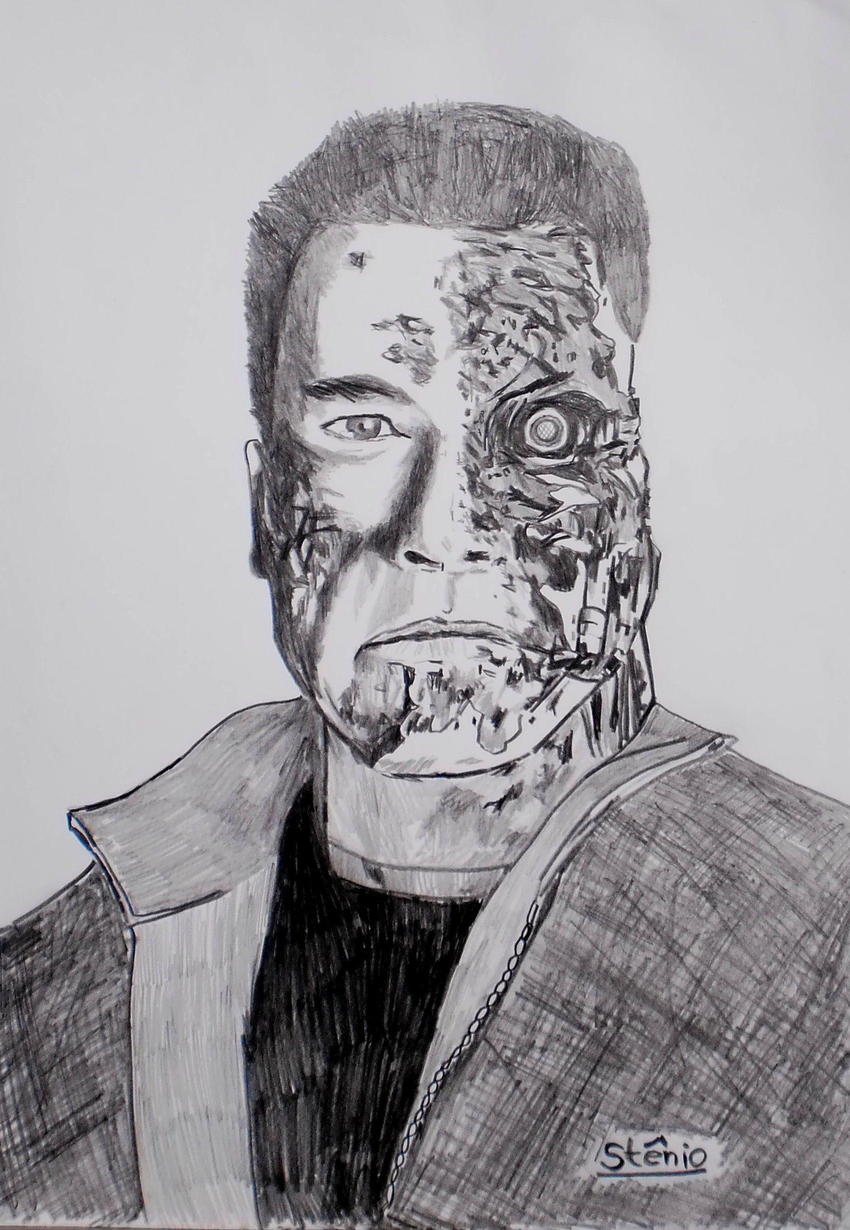 O Exterminador Do Futuro Desenho Feito A Lapis Desenhos Feito