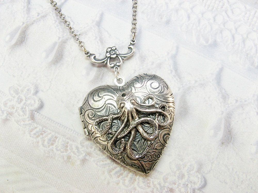 Silver Locket Necklace The ORIGINAL Silver OCTOPUS by birdzNbeez, $32.00