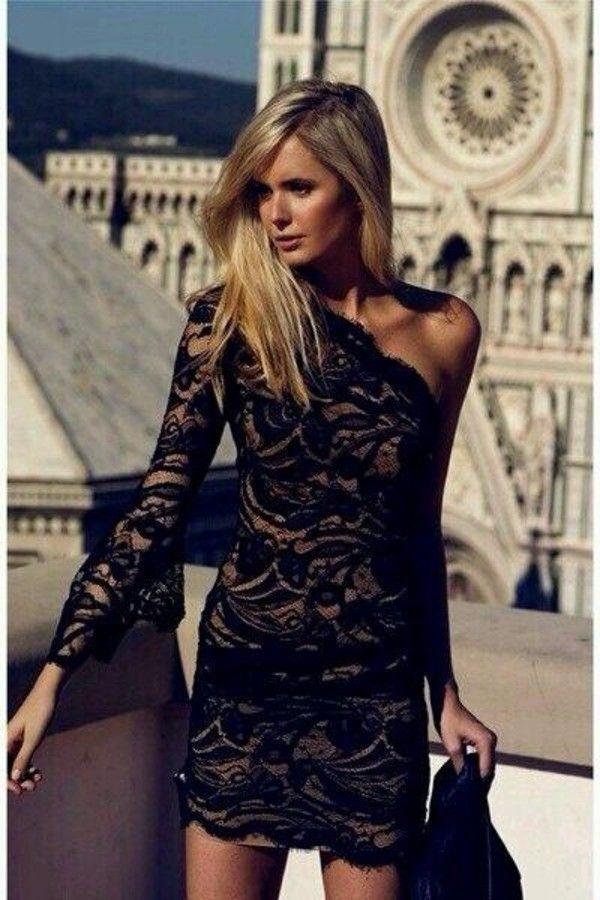 605e2da8ba8df Dress: black short long sleeve lace black and tan one shoulder black lace
