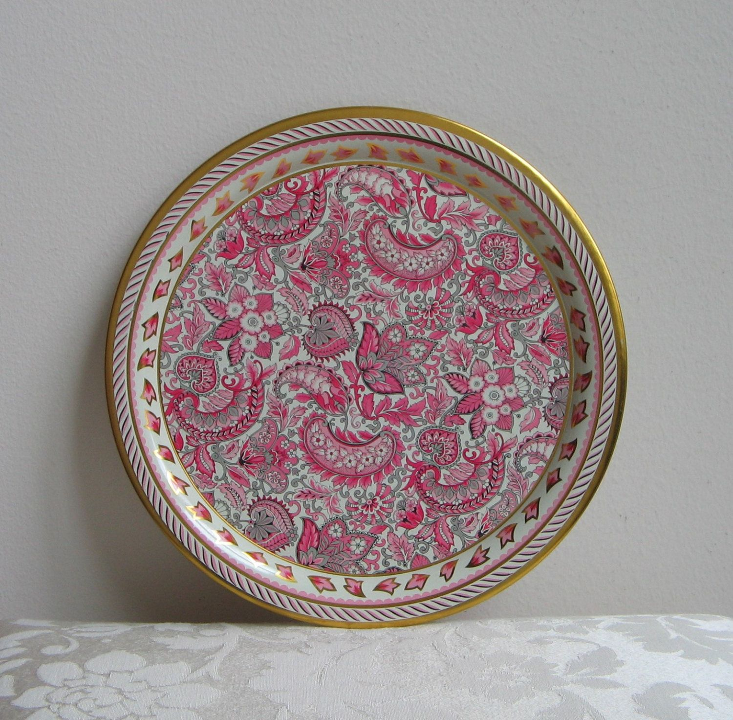 Daher Decorated Ware Tray Made In England Endearing Vintage Pink Metal Round Traydaher Decorated Ware Floral Design Inspiration