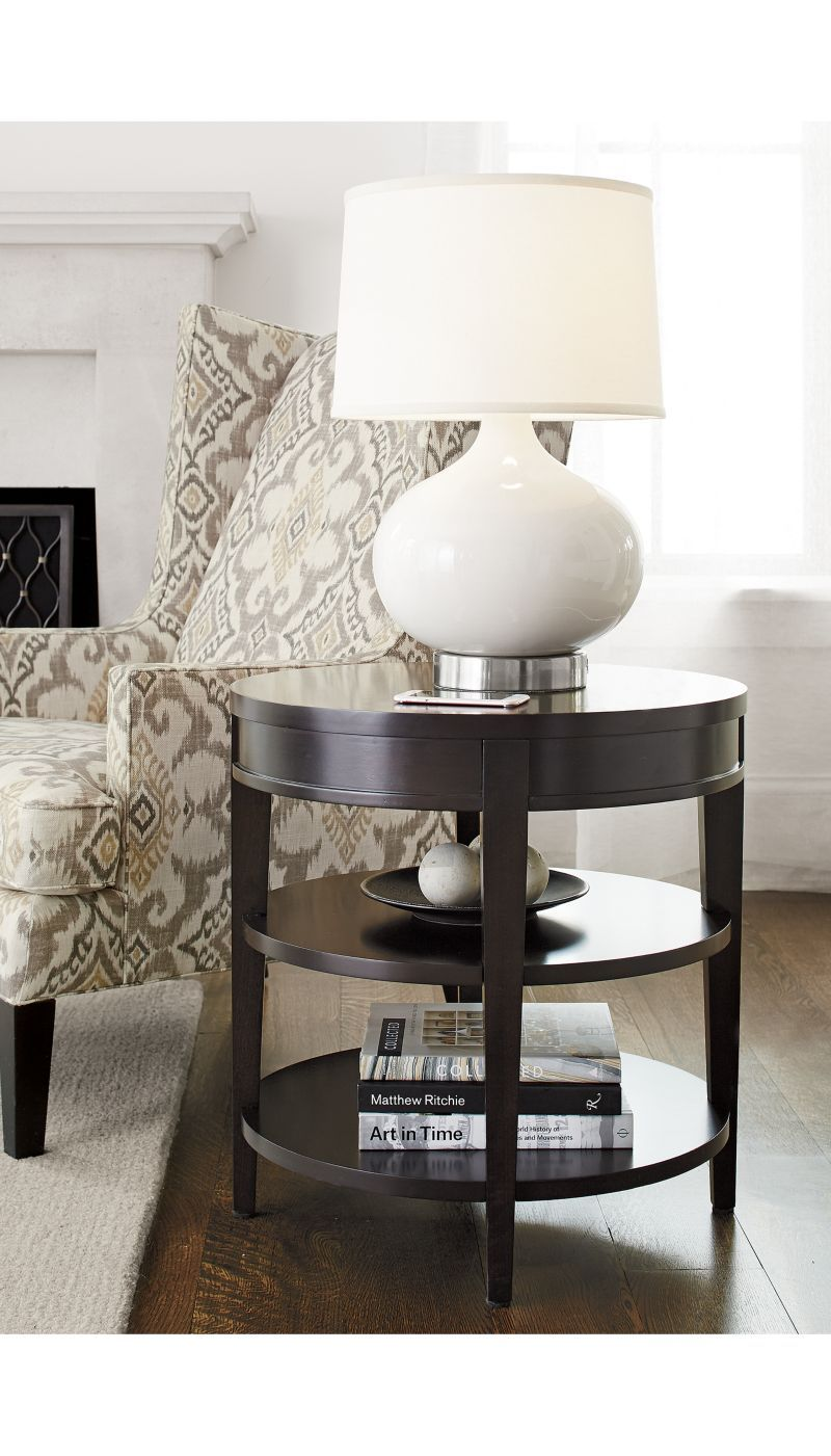 Side table with drawer  Colette Round Side Table with Drawer  Crate and Barrel  Ideas for