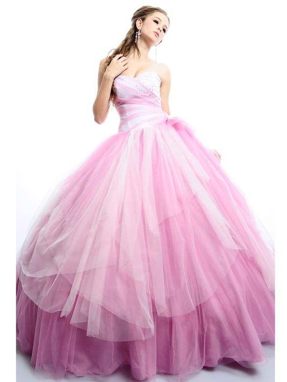 Romantische Prinzessin Brautkleider Rosa Tüll mit Herz-Ausschnitt ...