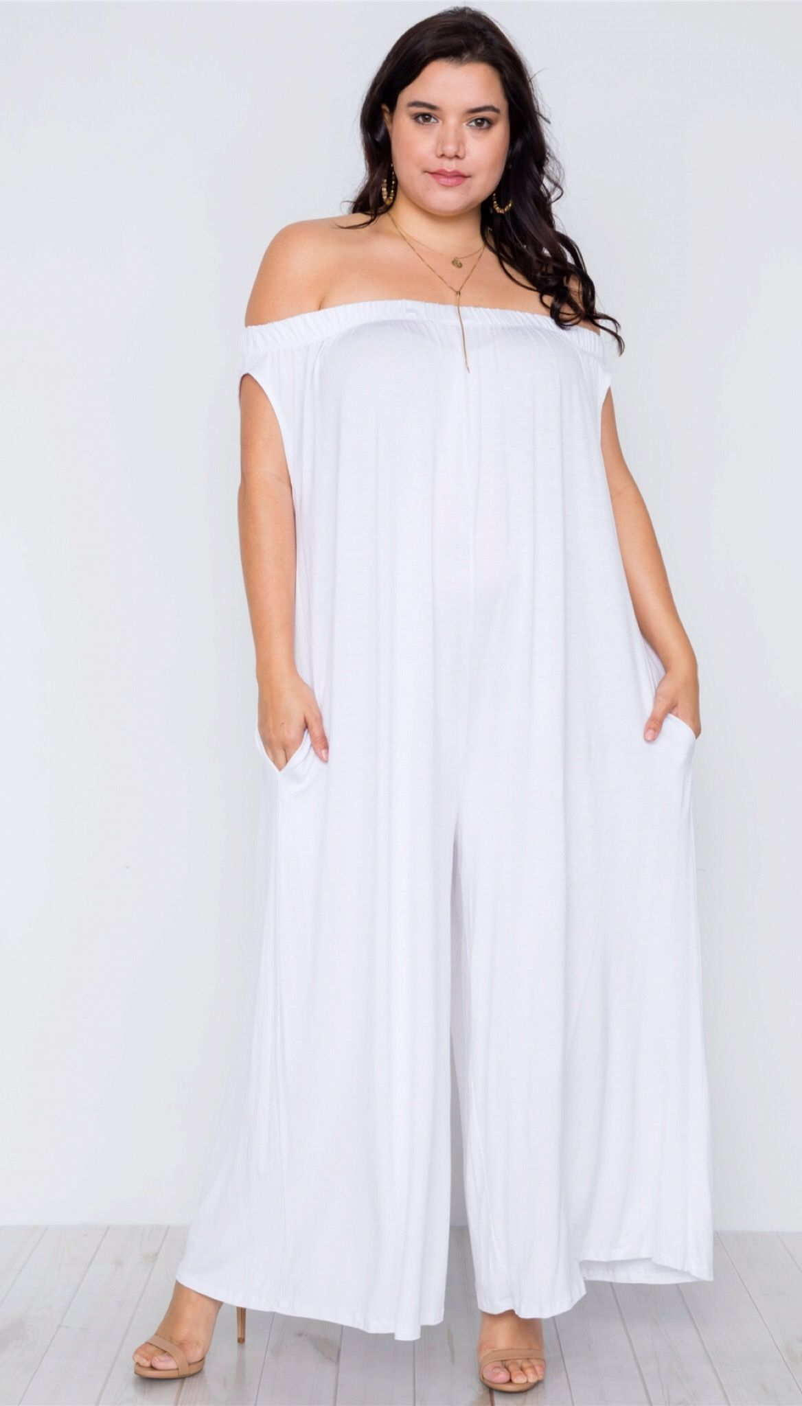 White Oversized Jumpsuit from KurvyHer Boutique ...