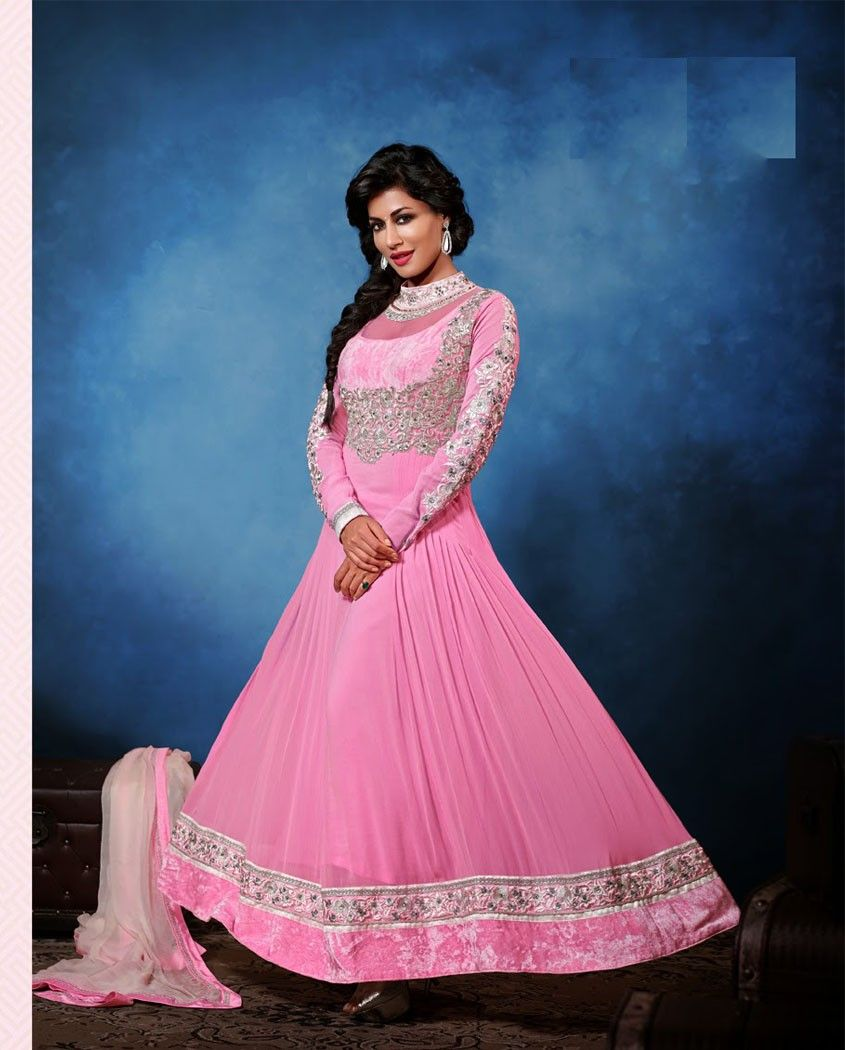 Pink anarkali suit with thread floral embroidery yoke with sleeves
