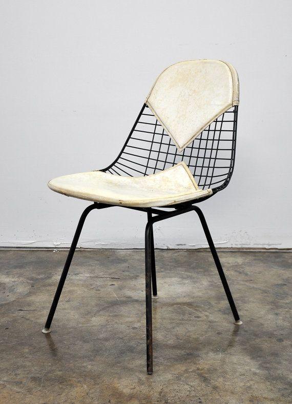 Gentil 1950s Eames Herman Miller Bikini Wire Chair Mid Century Modern H Base Shell Vintage  Retro Atomic Age Cream Off White With Original Label