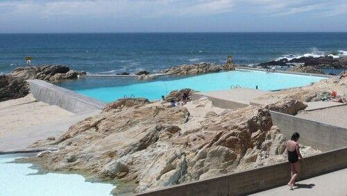 Piscina de Marés, Leça da Palmeira. Sea water swimming pool. Facilities designed by architect Siza Vieira in the 1960's.
