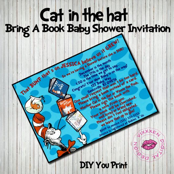 DR. SEUSS Baby Shower Invitation Bring A Book Personalized