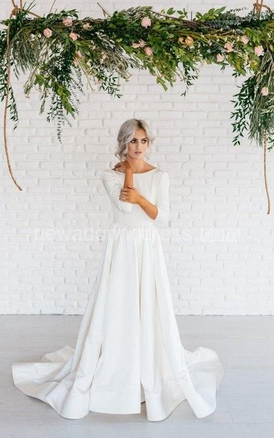 91aafe687 Modern Simple Long Sleeve A-Line Satin Wedding Dress With Open Back -  Newadoring Dress