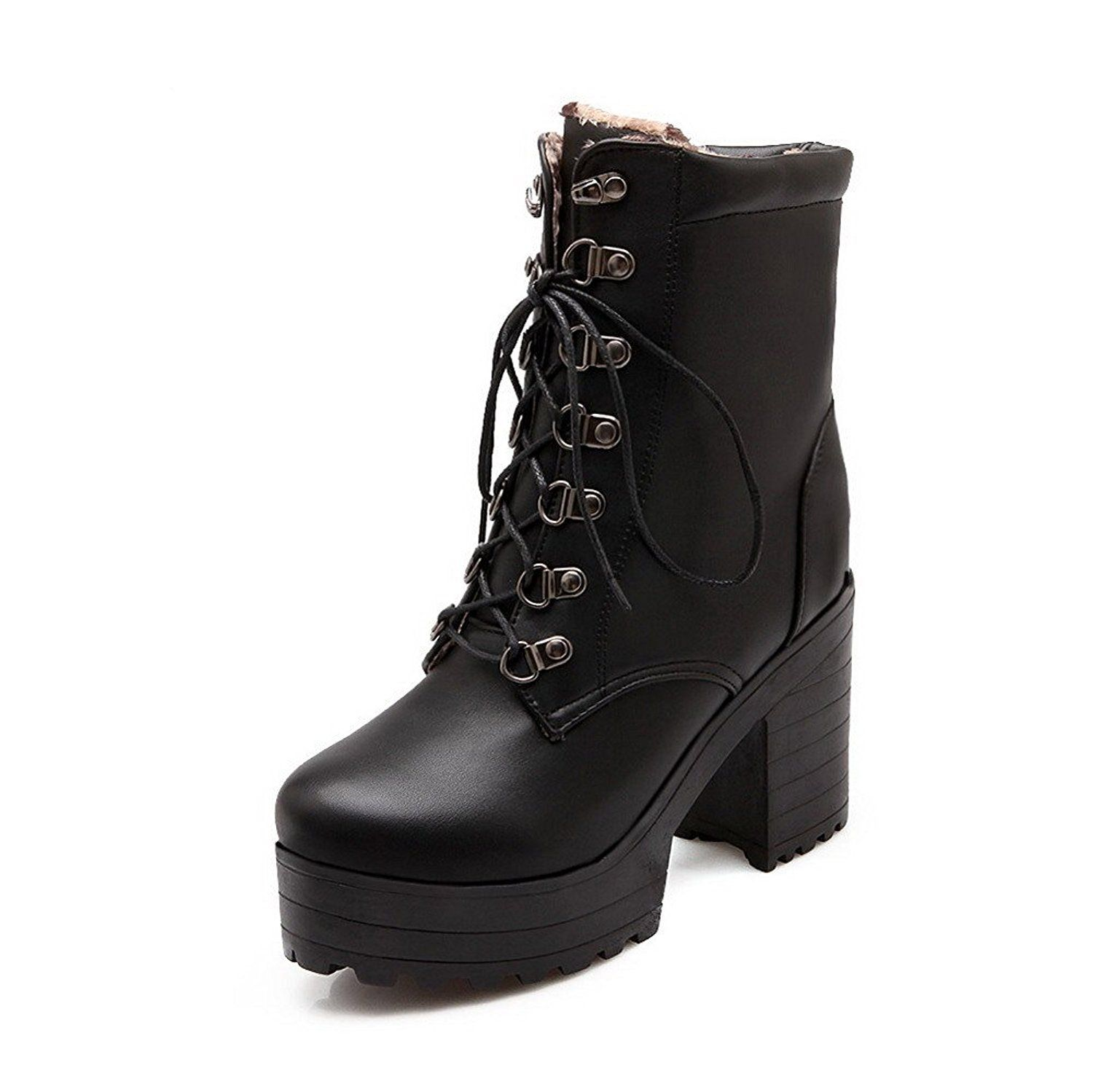 Women's High-Heels Soft Material Low-Top Solid Lace-Up Boots