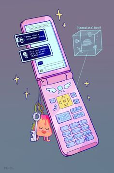 """pixlotl: """" Hereee's my piece for the @saveerasezine! I thought it might be fun to design the phone that Toriel gives you, with all the cool features added by Alphys! ( the keys are put on your..."""