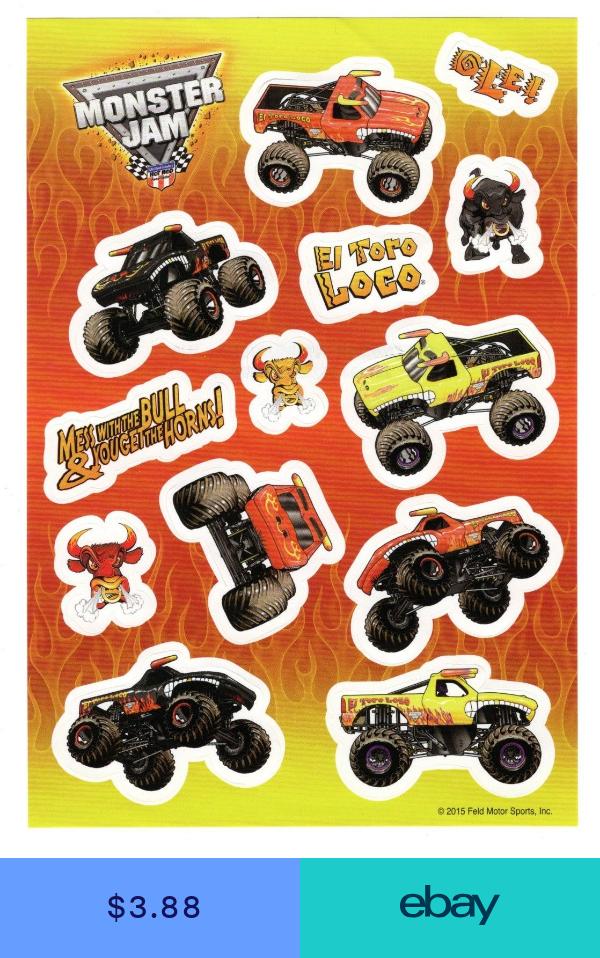 Monster Jam Sticker El Toro Loco 1 Sheet Truck Stickers El Toro Loco Cumpkeanos Cumpleanos