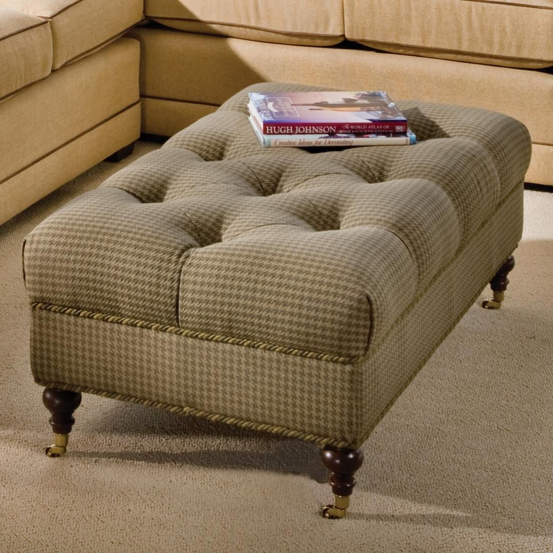 Traditional Tufted Ottoman with Casters