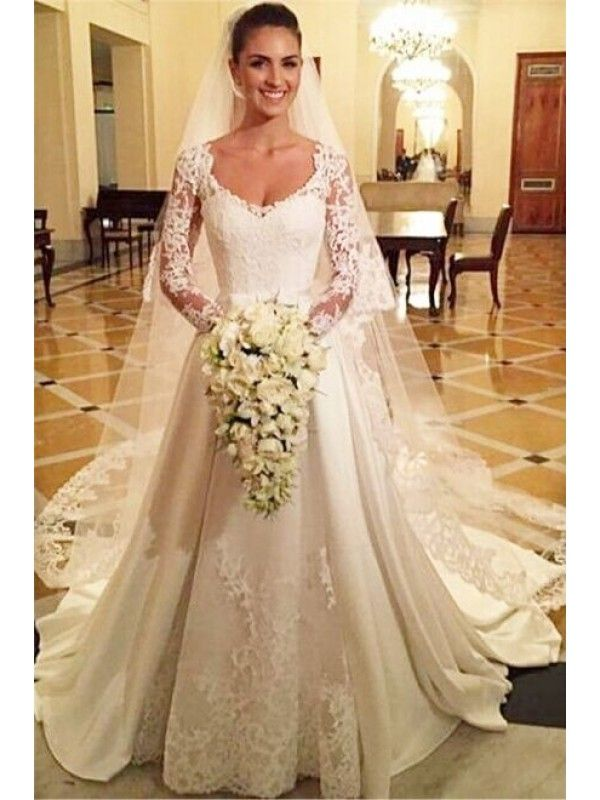e864a2419813 V Neck Long Sleeved Button Back Lace Wedding Dress 2016   Wedding ...