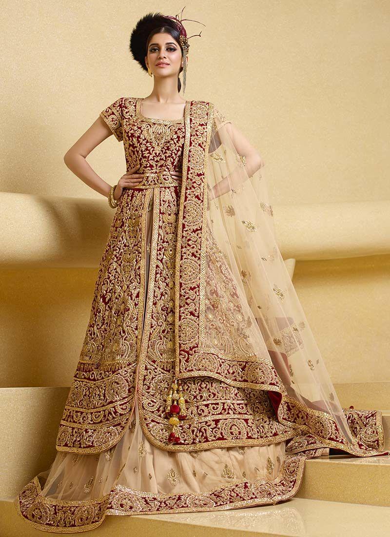 4b0bd8a139 Maroon Velvet Long Choli Lehenga Desi Wedding Dresses, Wedding Salwar Suits,  Patiala Salwar Suits