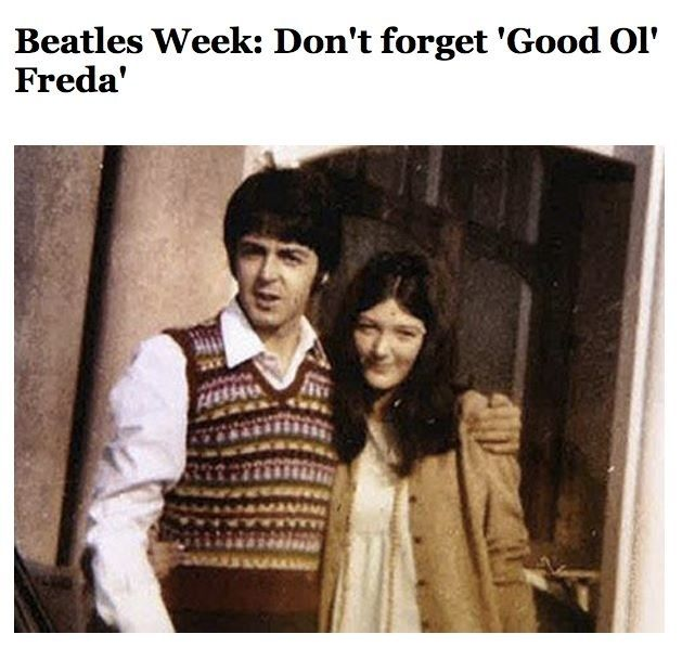 Freda Kelly with Paul. Beatles fan club president and Beatle buddy for 10 years. She also worked for Brian Epstein.