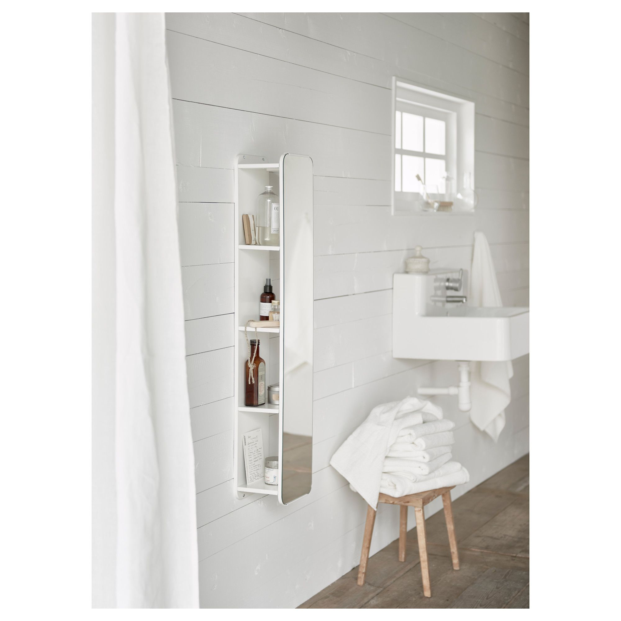 BRICKAN Mirror with storage unit White 20x100 cm | Storage, Wall ...