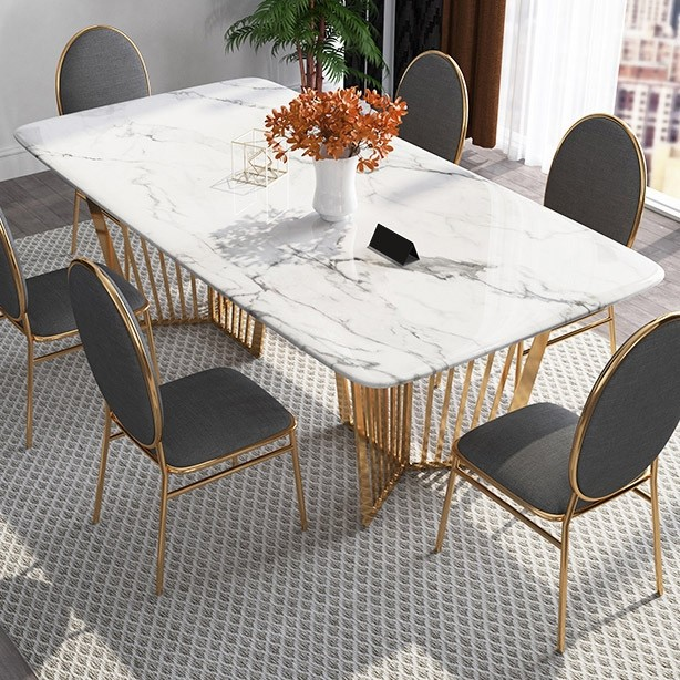 Contemporary 63 Rectangular Faux Marble Dining Table Gold Base Stainless Steel Dining Table Marble Faux Marble Dining Table Dining Table Gold