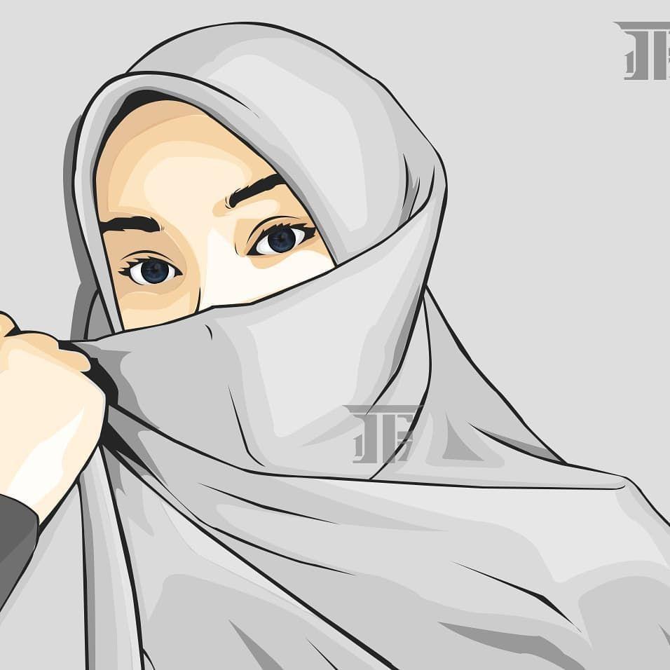 Fauzan irsyad di instagram vector photoshop vexel lineart niqab hijab khimar hijrah art ilustration tudung purdah