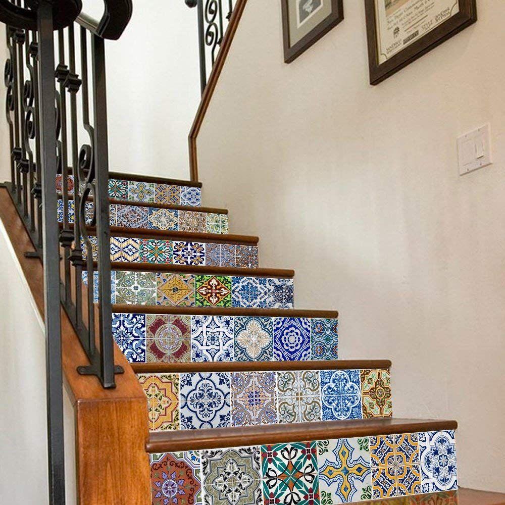 - Backsplash Tile Stair Stickers, DIY Mexican Talavera Tile Decor