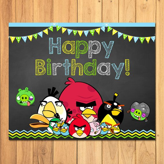 Angry Birds Happy Birthday Sign Chalkboard Angry By Sometimespie