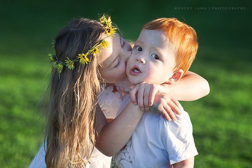Sister Kisses Her Brother On The Cheek Cute Baby Couple Cute