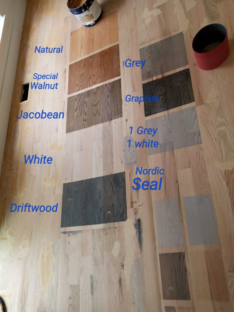 Testing Bona Sealers On Red Oak Natural Special Walnut White Driftwood Grey Graphite A Mi Wood Floor Stain Colors Wood Floor Colors Staining Wood Floors