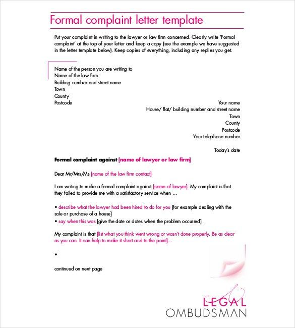 Formal Complaint Letter Template -    resumesdesign formal - copy informal letter format exercise