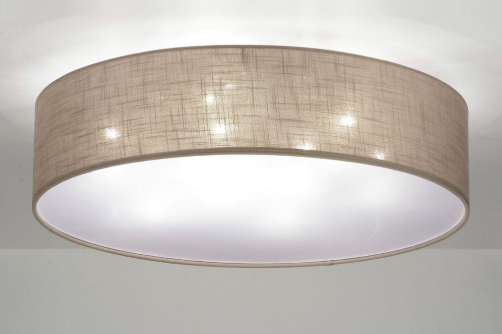 Deckenleuchten wohnzimmer klassisch  Deckenleuchte 71764 modern braun taupe Stoff rund | Lampen ...