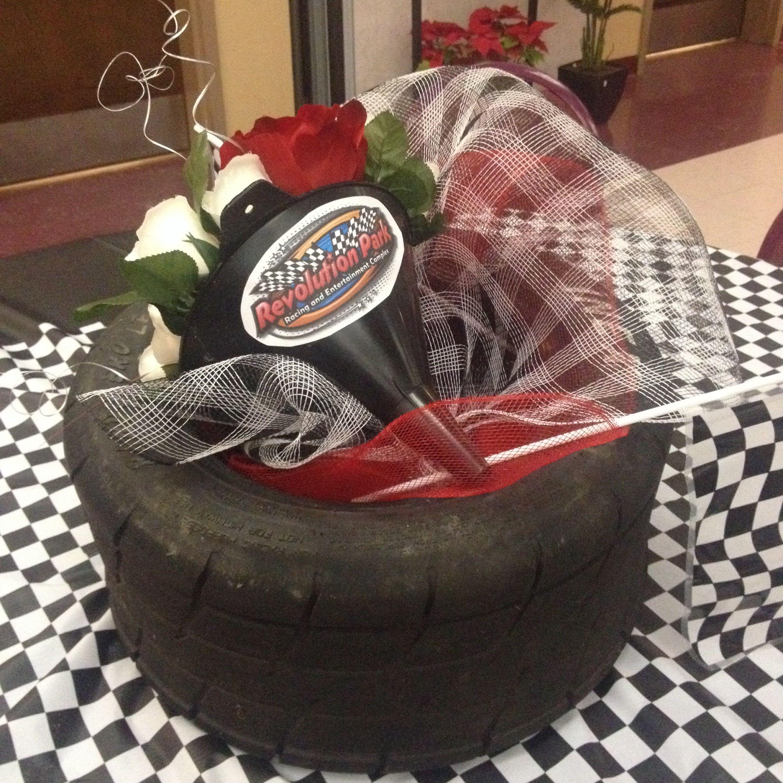 Altar Wedding Cars Timperley: Racing Theme Centerpiece. (Made By Original Pinner