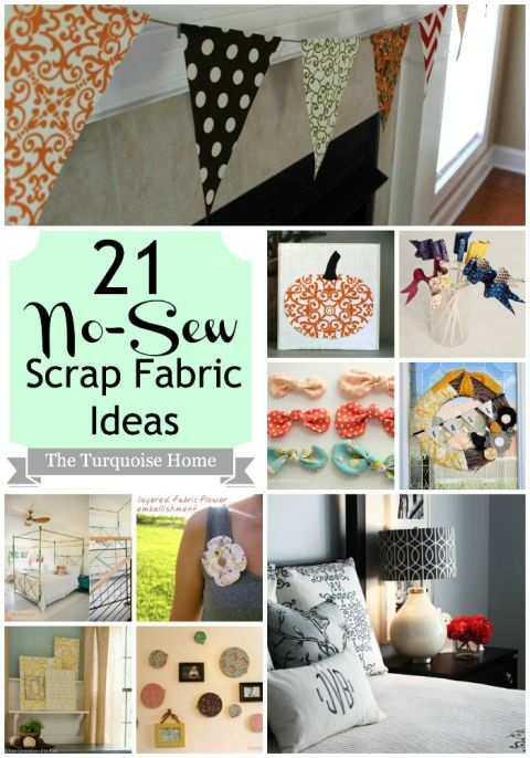 21 No-Sew Fabric Scrap Ideas {Roundup} | The Turquoise Home