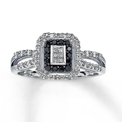 Perfect Kay Jewelers artistry collection Black Diamond Ring Princess Cut K White Gold