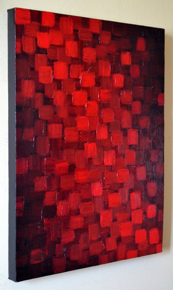 Abstract Red Black Geometric Painting 18×24 Textured Modern Palette Knife Impasto Painting Texture Wall Art