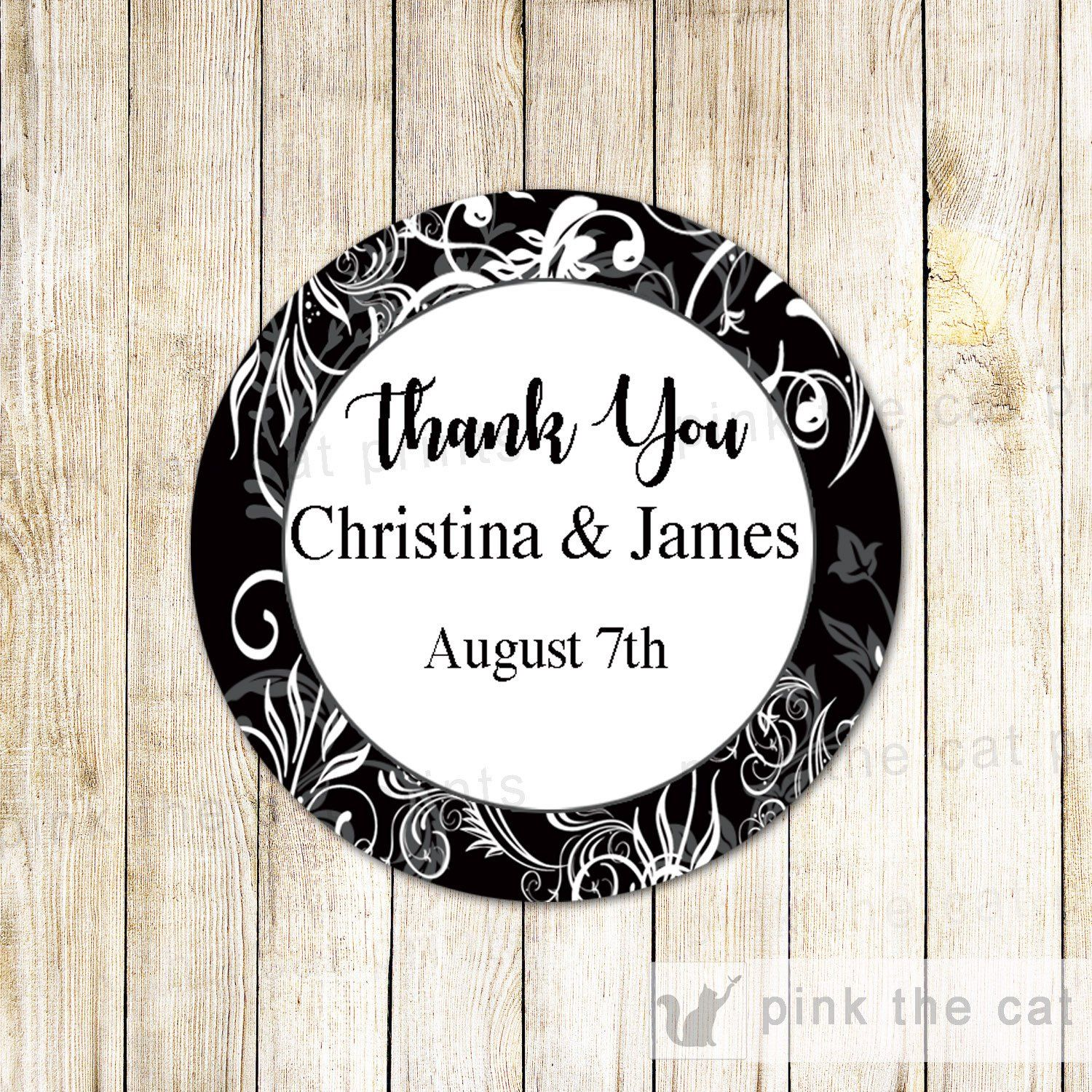 Black White Swirl Favor Label Sticker Gift Tag Wedding Bridal Shower ...