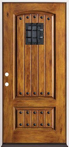 Rustic pre finished fiberglass prehung door unit with - Rustic fiberglass exterior doors ...